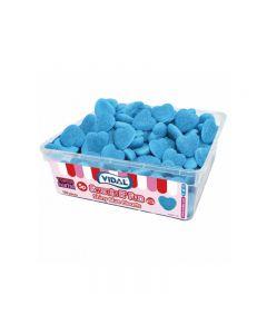 VIDAL 120X5P SHINY BLUE RASPBERRY HEARTS